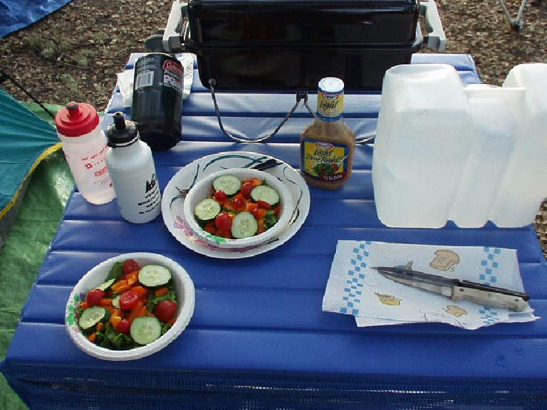 For dinner we made colorful salads and bbq'd some stuff on a portable grill.  All of this seemed really luxurious compared to my typically barebones camping style!