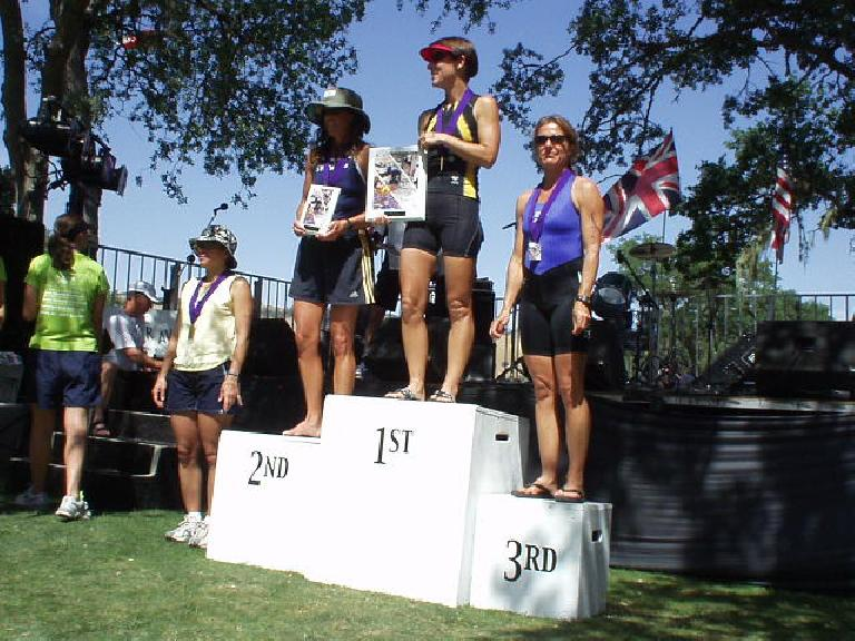 Meanwhile, the top professional women were receiving their awards.  The winners were Switzerland's Natascha Badmann (who smoked everyone on the bike!), 26-year-old Kate Major from Australia, and Wisconsin's Heather Gollnick. Photo: Jose Cortez.