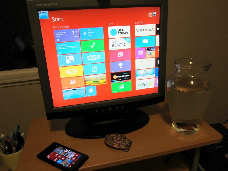 My Windows 8 PC (HP workstation) and Windows Phone (Nokia Lumia 900).