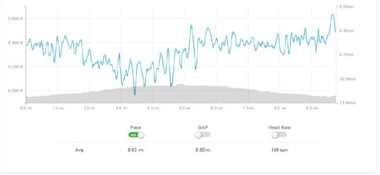 Strava data from a super windy 10-mile training run in Fort Collins.