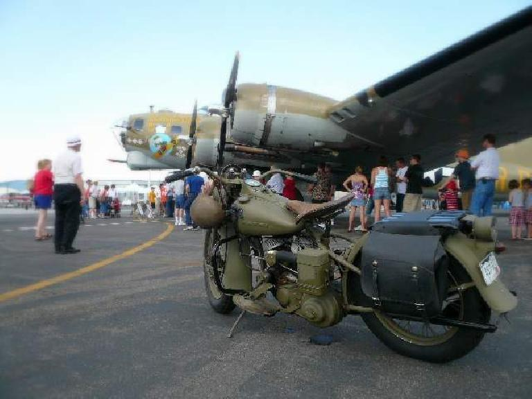 Vintage motorcycle in front of the B-17.