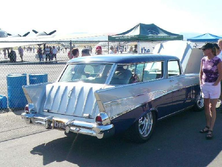 Hot rodded 50s Chevy wagon.