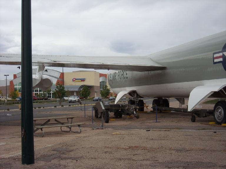 Outside the museum was this U.S. Air Force bomber, with a humungous 24 Hour Fitness in the background.