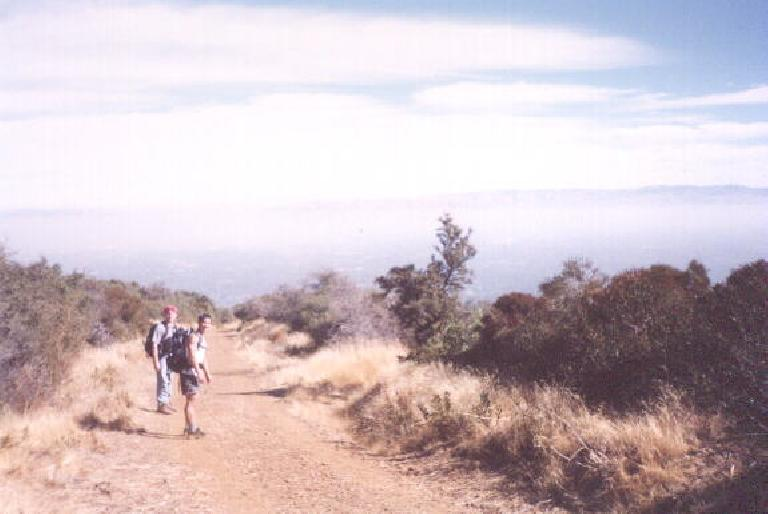 "[Black Mountain, Oct 2001] ""Power-hiking"" up Black Mountain in Los Altos.  The picture is of Brent and Felix Wong on the trail. Photo: Sarah Toas. (October 14, 2001)"