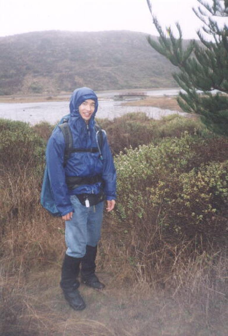 "[Point Reyes, Nov 2001] During this day hike, Sarah would constantly tease me about just how much stuff I had brought in my pack!  ""I am prepared!"" I'd say. Photo: Sarah Toas. (November 11, 2001)"