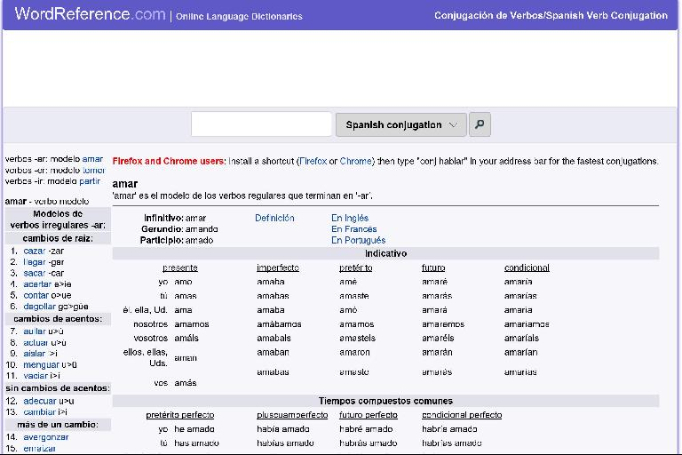The conjugation page of the WordReference Wrap app on Windows 10 PC.