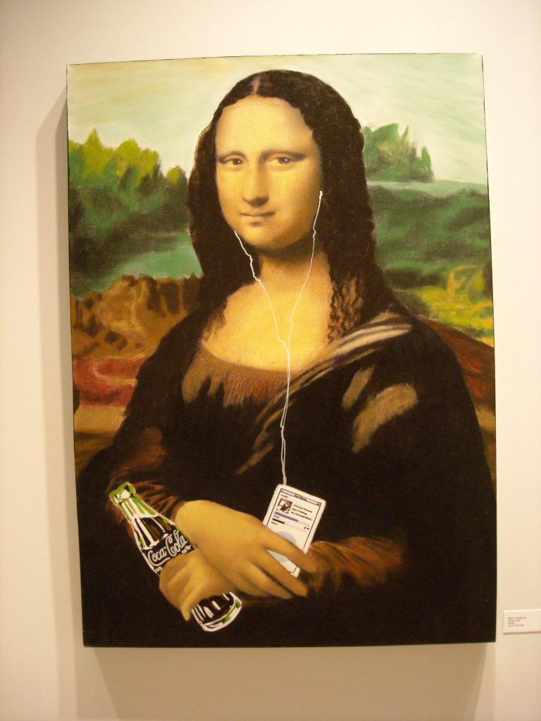 Mona Lisa holding an iPod and a Coca-Cola.