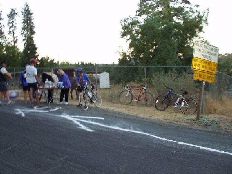 Mile 18: The first rest stop.  As you can see, the course was super-well marked with chalk, at least in the early going!