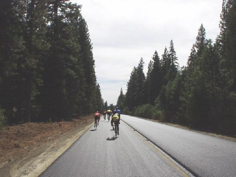 Mile 95: Following a pilot car and other cyclists during a paving project for 6 miles.