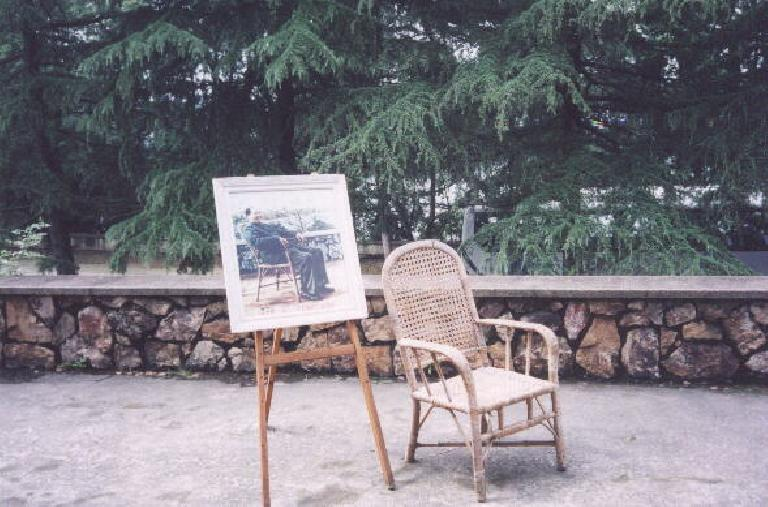 """At Mao's Villa in Wuhan.  """"That's really not his chair!"""" my dad proudly observed."""