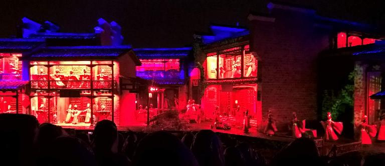 We attended an outdoor theatrical production about tea while it was raining in Wuyishan, China.