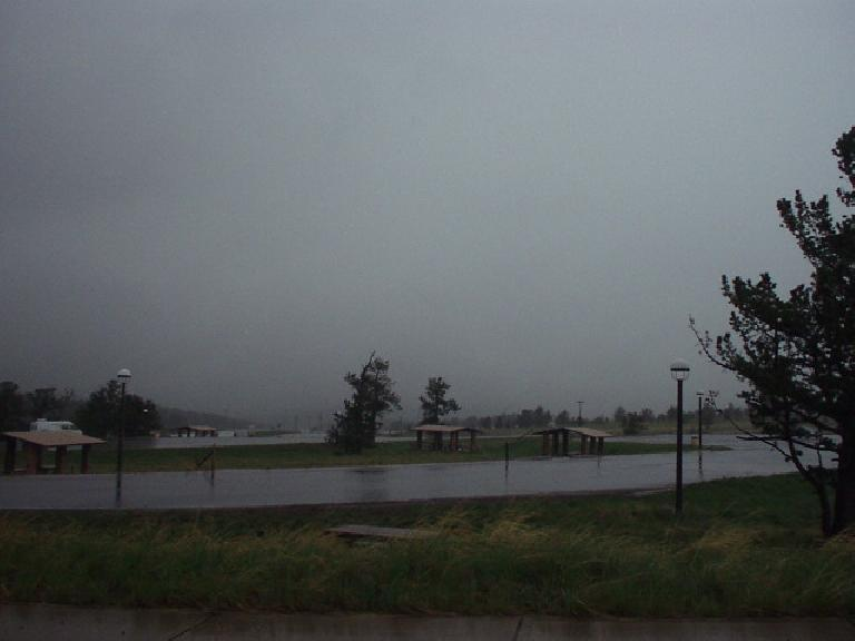 The rain-soaked rest area that was the finish of the 2006 Rocky Mountain Double Marathon.