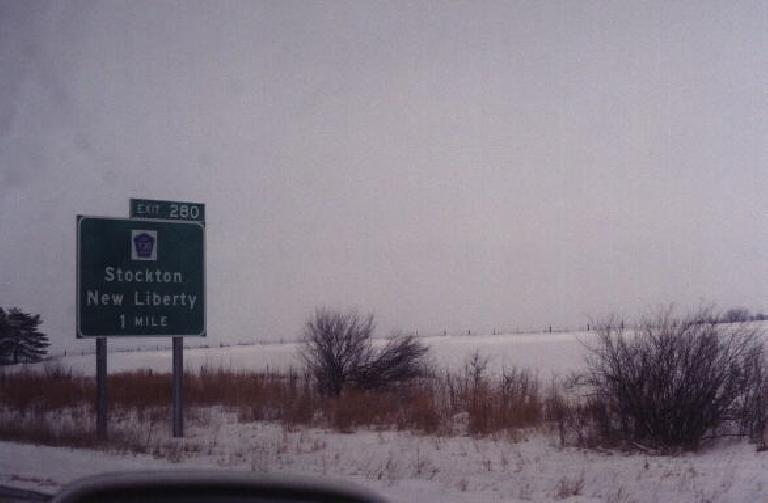 Stockton, Illinois (?), not Stockton, CA, our final destination. (January 30, 2000)