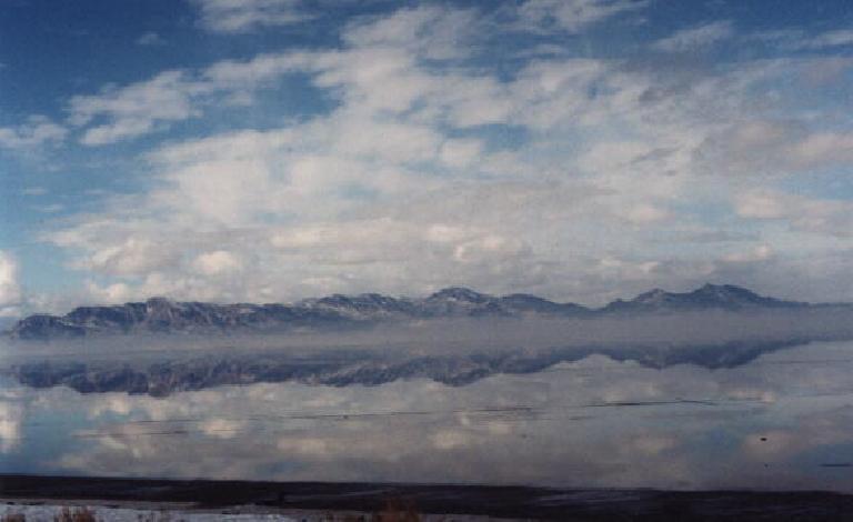 A marvelous reflection along the Salt Flats. (January 31, 2000)
