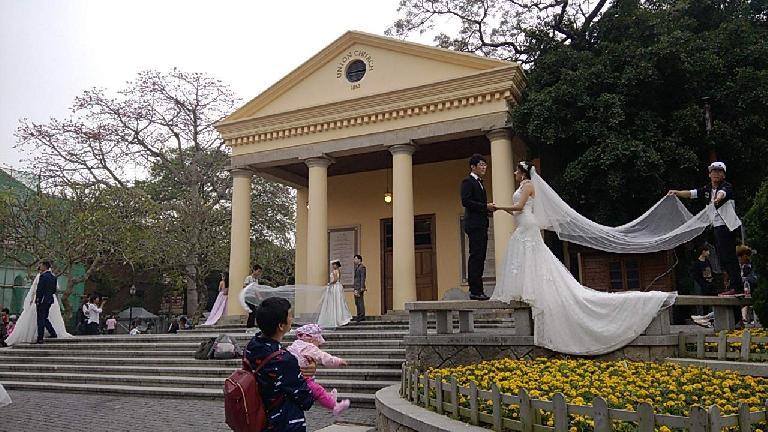 Couples getting married at Union Church on Gulangyu island near Xiamen, China.