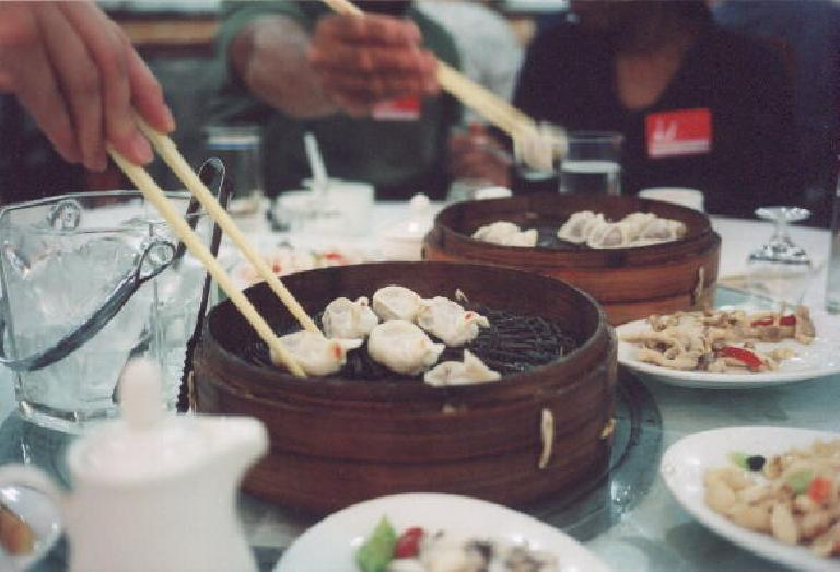 "In Xian, we had a dumpling banquet, including these pheasant dumplings... or is it pidgeon?  ""Tastes like chicken..."""