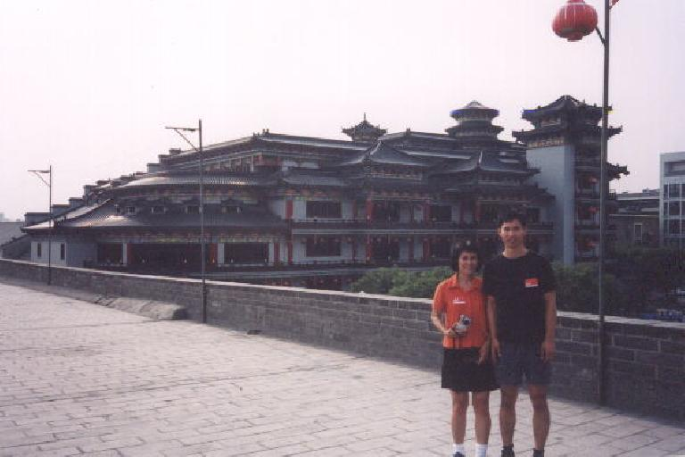 My mom and I on the City Wall of Xian.