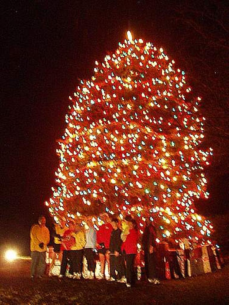 Our group in front of a big X-mas tree at Woodward Governor (fuzzy photo).