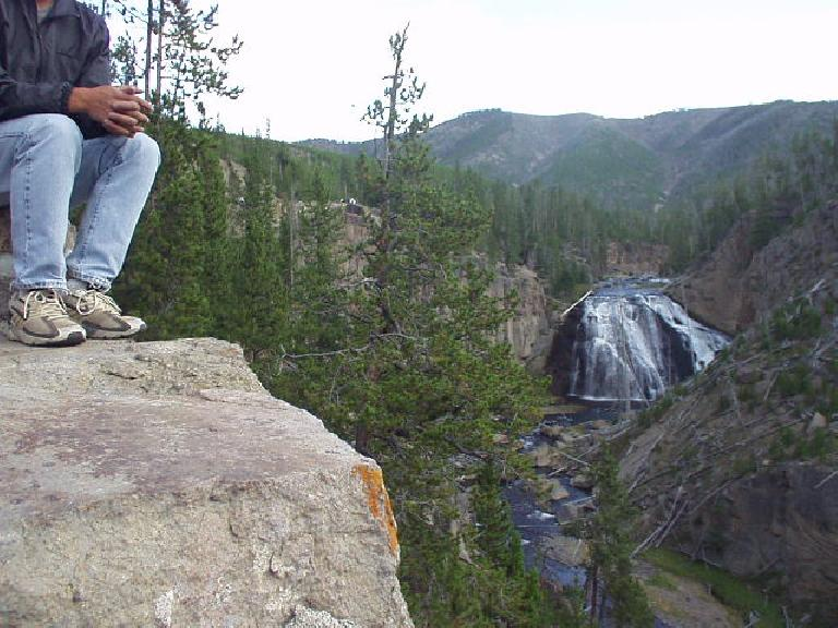 Gibbons Falls in Yellowstone Park.  (If you are wondering why my head is cut off in this photo, it is because I did not aim the camera very well!)