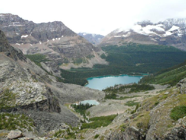 The view from the southeast of Lake O'Hara.