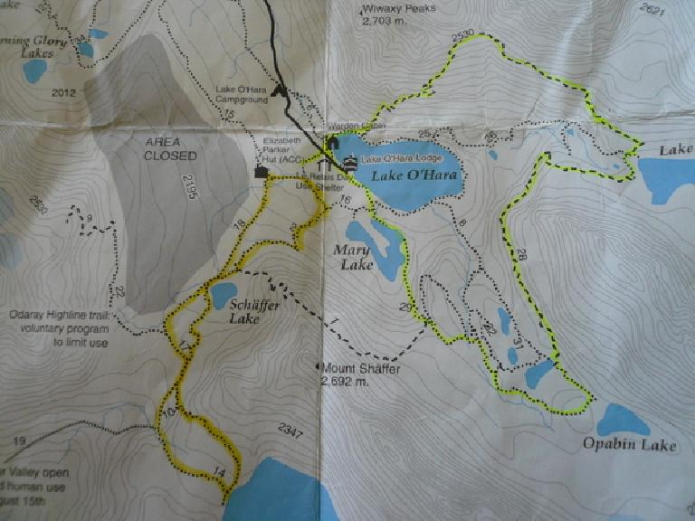 The hikes we did (green route on Monday; yellow route on Tuesday).