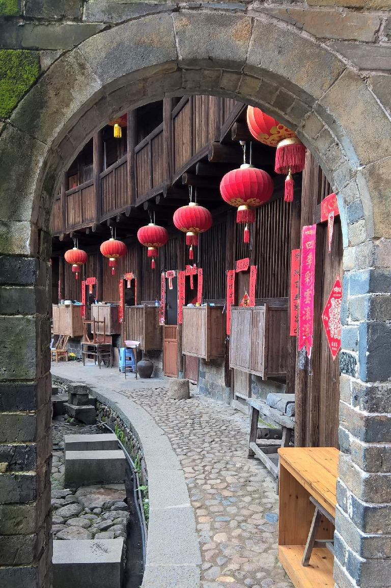 Lanterns inside a Hakka Tulou in Yongding.