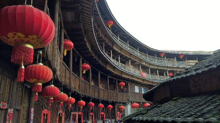 More lanterns inside a Hakka Tulou in Yongding.