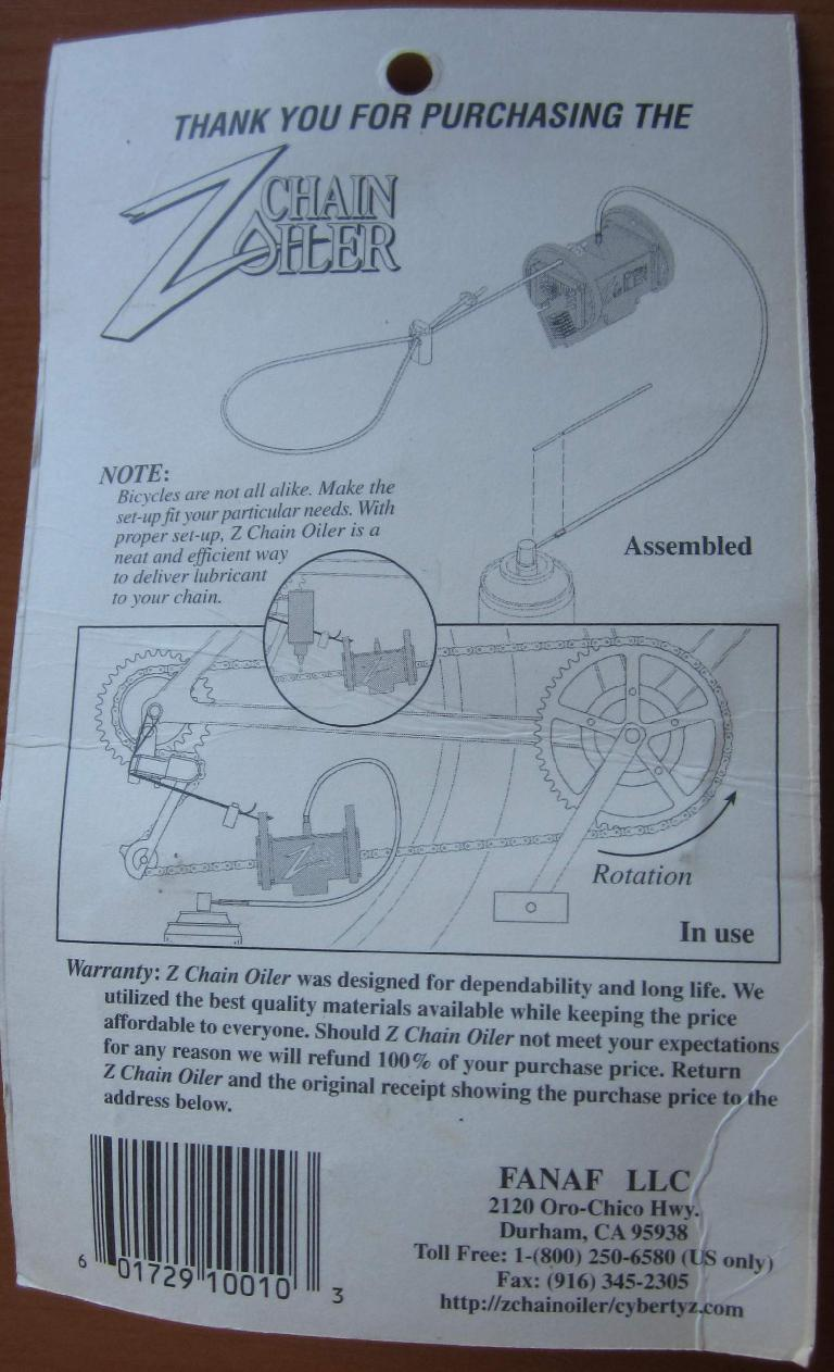 The back of the package for the Z Chain Oiler explaining how to use it.