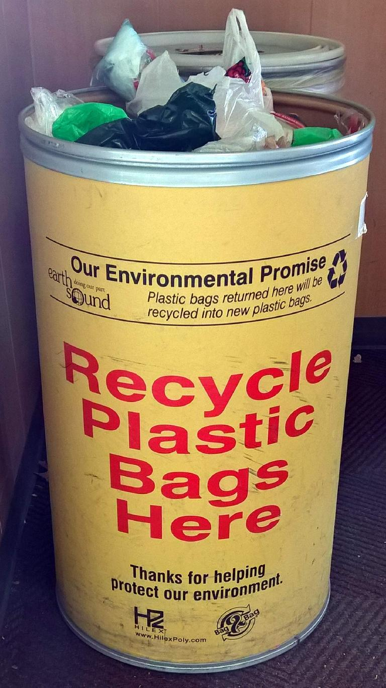 Most grocery stores can recycle many types of plastic (not just bags) in these bins.