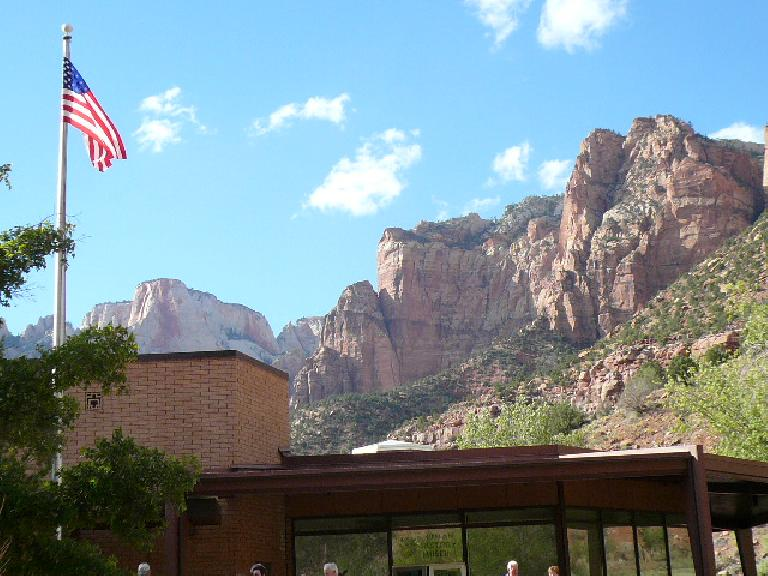 American flag waving in Zion Canyon.